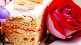 guloseima : sweet food: cheese cream cake piece dish with roses 1920x1080 intro motion slow hidef hd