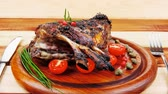 capers : ribs rack on wood with stainless steel cutlery 1920x1080 intro motion slow hidef hd