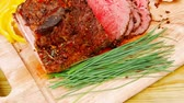 roast ham : beef barbecue served on big wooden plate 1920x1080 intro motion slow hidef hd