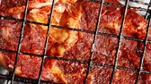 grilled roast meats beef lamb fillet ribs on bbq grid over charcoal 1920x1080 intro motion slow hidef hd Stock Footage