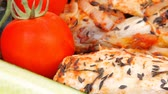 meat grilled chicken fillet cooked with vegetables on ceramic pan 1920x1080 intro motion slow hidef hd Stock Footage