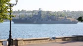 Rocket cruiser in Sevastopol harbor 影像素材