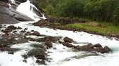 hardanger : Waterfall Valley, Norway. Beautiful Waterfall In The Valley Of Waterfalls In Norway. Husedalen Waterfalls Were A Series Of Four Giant Waterfalls In The South Fjord Stock Footage