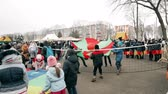 торжества : Gomel, Belarus. Children Play Ball During Traditional Holiday Dedicated To Approach Of Spring - Slavic Celebration Shrovetide. National Traditional Holiday Maslenitsa Стоковые видеозаписи