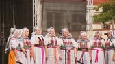 folk : Prague, Czech Republic. Women Group In National Clothes Performing Folk Songs During Popular In Prague Folk Folklore Festival