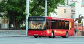 bíblico : Vitebsk, Belarus. Red Public Maz Bus Moving On Street In Summer Day. Pan, Panorama