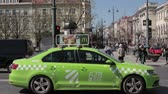 ar : Vilnius, Lithuania. Volkswagen Jetta Taxi Car Moving In Street In Spring Day
