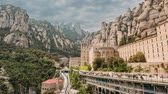 Мария : Santa Maria De Montserrat. Benedictine Abbey In Mountain Of Montserrat, In Monistrol De Montserrat, In Catalonia, Spain. Timelapse, Time-lapse Стоковые видеозаписи