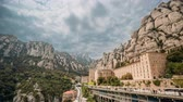 santuário : Santa Maria De Montserrat. Benedictine Abbey In Mountain Of Montserrat, In Monistrol De Montserrat, In Catalonia, Spain. Timelapse, Time-lapse Stock Footage