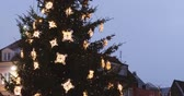 riga : Riga, Latvia. Traditional Christmas Tree And Trading Houses On Dome Square In Winter Evening Night Stock Footage