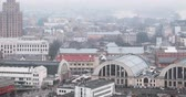 pavilion : Riga, Latvia. Top View Cityscape In Misty Fog Rainy Day. Latvian Academy Of Sciences, Bus Station Riga International Coach Terminal And Riga Central Market