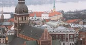 церкви : Riga, Latvia. Top View Of Cityscape And Famous Landmark - Riga Dome Cathedral In Misty Fog Rainy Day