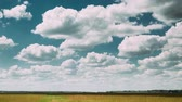 vacas : Time-lapse Of Summer Countryside Rural Field Meadow Landscape Under Scenic Dramatic Sky With Fluffy Clouds.