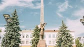 anıt : Gomel, Belarus. Monument To Heroes-members Of The Komsomol At Crossroads Of Streets Of Karpovicha And Zharkovskogo In Sunny Winter Day, Hyperlapse