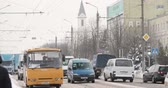 trafik : Gomel, Belarus - March 2, 2018: Traffic In Winter Day On Sovetskaya Street