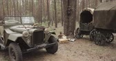 аренда : Russian Soviet World War II Four-wheel Drive Army Truck Gaz-67 Car In Forest. WWII Equipment Of Red Army Стоковые видеозаписи