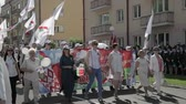 sivil : Gomel, Belarus - May 9, 2018: Immortal Regiment Action March At Parade Procession Of People From Red Cross With Portreits Of WW2 Heroes. Annual Victory Day Celebration 9 May