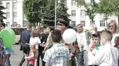 participante : Gomel, Belarus - May 9, 2018: Ceremonial Procession Of Parade. Military And Civilian People On The Festive Decorated Street. Celebration Victory Day 9 May In Gomel Homiel Belarus