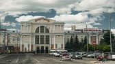 belarus : Gomel, Belarus - June 6, 2018: Railway Station Building In Sunny Summer Day. Stock Footage