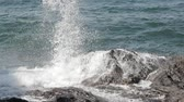 Ocean Sea Waves Hit Coastal Rocky Stone Wideo