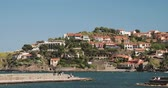 Collioure, France. View From Berth In Port To Collioure Hilly Cityscape In Sunny Spring Day. People Tourists Resting And Walking In Coast Across Bay