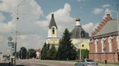 erfgoed : Rechytsa, Gomel Region, Wit-Rusland. Cathedral Of Dormition In Sunny Summer Day