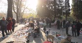 local : Tbilisi, Georgia - November 11, 2018: Shop Flea Market Of Antiques Old Retro Vintage Things On Dry Bridge. Swap Meet In Tbilisi Stock Footage