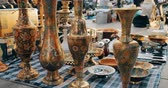антиквариат : Tbilisi, Georgia. Close View Of Eastern Jugs In Shop Flea Market Of Antiques Old Retro Vintage Things On Dry Bridge In Tbilisi