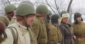 druhé světové války : Gomel, Belarus - November 25, 2018: Re-enactors Dressed As Russian Soviet Soldiers Of World War II Standing In Order.