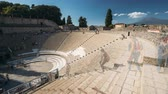 staircase : Pompeii, Italy. Great Theatre Of Pompey In Sunny Day Stock Footage