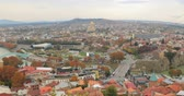 town hall : Tbilisi, Georgia. Top View Of Famous Landmarks In Autumn Evening. Georgian Capital Skyline Cityscape.