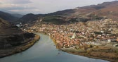 世界遺産 : Mtskheta, Georgia. Top View Of Ancient Town Located At Valley Of Confluence Of Rivers Mtkvari Kura And Aragvi In Picturesque Highlands. Autumn Season 動画素材