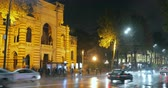 Tbilisi, Georgia - November 22, 2018: Traffic Near Georgian National Opera and Ballet Theater of Tbilisi In Night Rustaveli Avenue Street
