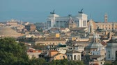 sloping : Rome, Italy. Cityscape Skyline With Pantheon, Altar Of The Fatherland And Other Famous Lanmarks In Old Historic Town Stock Footage