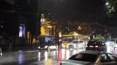 交通警官 : Tbilisi, Georgia - November 22, 2018: Traffic Road Police Car With Active Rooftop Flashing Lights Provide Security. Emergency Lights System Els Activated Driving In Night Shota Rustaveli Avenue Street