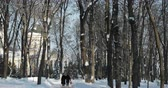 Gomel, Belarus - January 27, 2019: People Walking In Snowy City Park In Sunny Winter Day