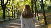 Young walking forest autumn Stock Footage
