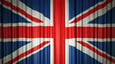 blind : UK flag. 3d animation of opening and closing curtains with flag. Stock Footage