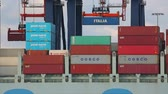 crane : Loading containers on a ship Stock Footage
