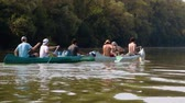 canoe : Canoeing on the river Stock Footage