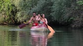remoção : Canoeing on a river Stock Footage
