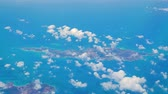lucht : Anguilla Caribbean island seen frome airplane window