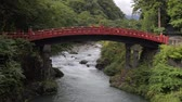 across : Japanese traditional bridge Shinkyo Stock Footage