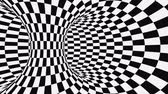 szachy : Black and white psychedelic optical illusion. Abstract hypnotic animated background. Checkered geometric looping monochrome wallpaper. Chess modern dynamic backdrop. 3D seamless full HD animation