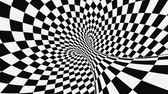onmogelijk : Black and white psychedelic optical illusion. Abstract hypnotic animated background. Checkered geometric looping monochrome wallpaper. Chess modern dynamic backdrop. 3D seamless full HD animation