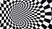 filare : Black and white psychedelic optical illusion. Abstract hypnotic animated background. Checkered geometric looping monochrome wallpaper. Chess modern dynamic backdrop. 3D seamless full HD animation