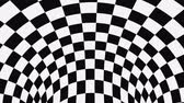 sfondi animati : Black and white psychedelic optical illusion. Abstract hypnotic animated background. Checkered geometric looping monochrome wallpaper. Chess modern dynamic backdrop. 3D seamless full HD animation