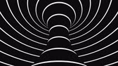 filare : Black and white psychedelic optical illusion. Abstract hypnotic animated background. Spiral geometric looping monochrome wallpaper. Surreal modern dynamic backdrop. 3D seamless full HD animation