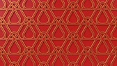 arte islamico : Arabesque looping geometric pattern. Red and gold islamic 3d motif. Arabic oriental animated background. Muslim moving wallpaper. Asian ornament with triangles. Ethnic design element decoration.