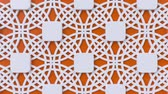 arte islamico : Arabesque looping geometric pattern. Orange and white islamic 3d motif. Arabic oriental animated background. Muslim moving wallpaper. Asian ornament with circles. Ethnic design element decoration. Archivo de Video